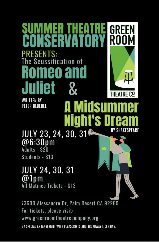 Performances by Green Room Theatre at CREATE Center on July 23, 24, 30 and 31. Use the link below to purchase tickets.